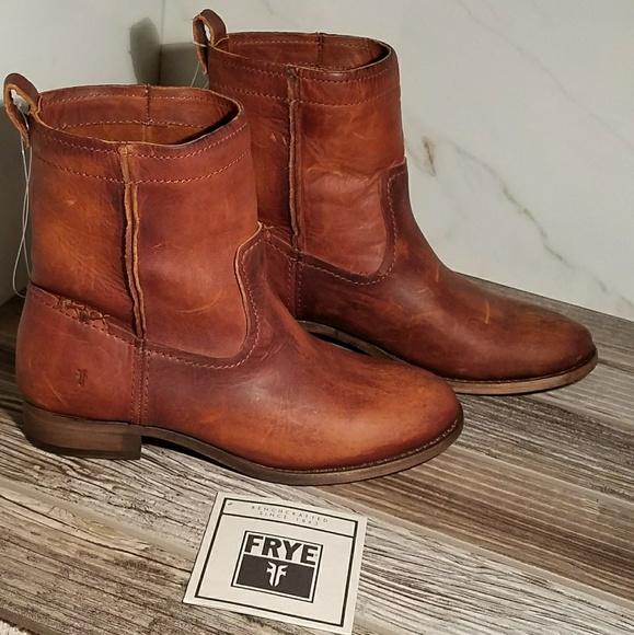 d619573ae23 NIB Frye Cara Short Cognac Genuine Leather Boots NWT
